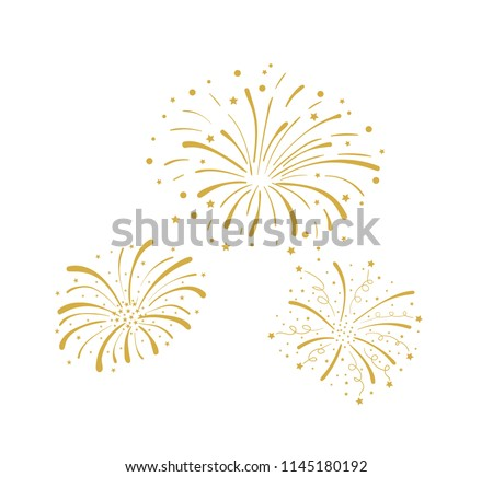 Vector Golden Doodle Fireworks Isolated on White Background, Celebration, Party Icon, Anniversary, New Year Eve.