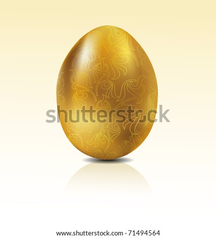 Vector golden egg with engraving