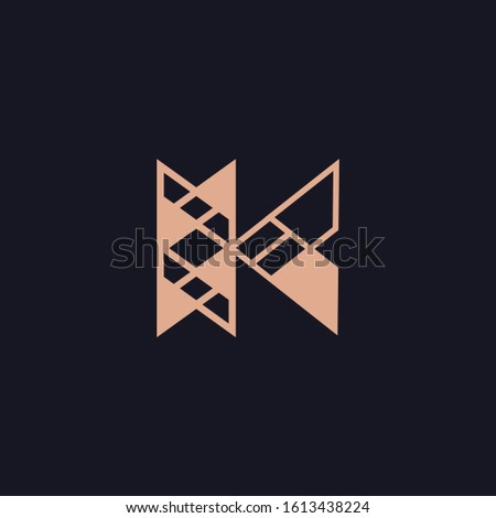 Vector golden elegant geometric logo in the form of the letter K. Template for logo, business card, postcard, poster, identity, print and other use. Stock fotó ©