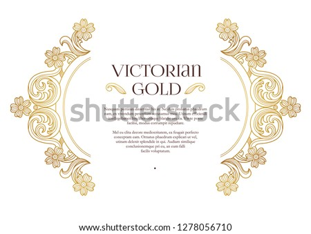 Vector golden elements, decoration for design template. Luxury border with ornament in Victorian style. Premium floral illustration. Ornate decor, frame for invitation, card, certificate.