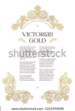 Vector golden elements, decoration for design template. Luxury ornament in Victorian style. Premium floral illustration. Ornate decor, frame for invitation, card, certificate. A4 page size.