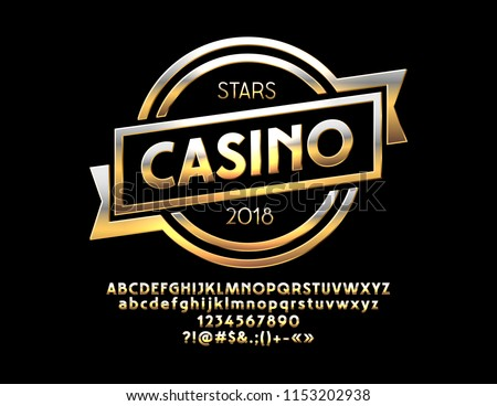 Vector Golden Emblem Casino with Luxury Font.