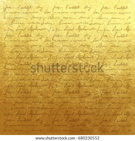 Shutterstock Vector golden foil background template for cards, hand drawn backdrop - invitations, posters - vintage gold paper texture with handwriting letter with poems, scrapbooking victorian style page.