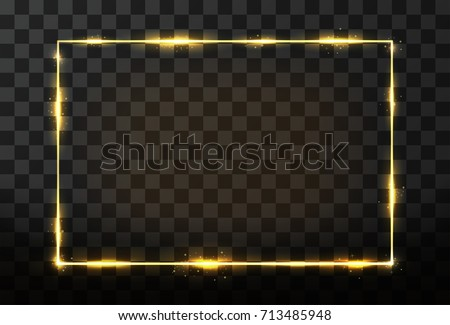 Vector golden frame with glow effect. Neon rectangle frame and glitter effect on transparent background