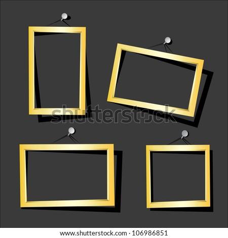 vector golden frames on the black wall. vector illustration.