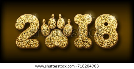 Vector golden glitter shiny numbers 2018 with zero as dog paw print and one in bone shape next new year, calendar front page design template