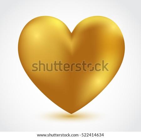 Vector golden heart.Gold heart icon.