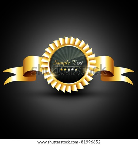 vector golden label with ribbon - stock vector