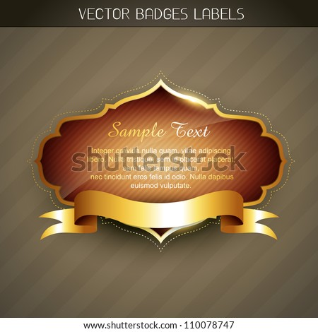vector golden label with space for your text - stock vector