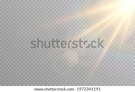 Vector golden light with glare. Sun, sun rays, dawn, glare from the sun png. Gold flare png, glare from flare png. Vector.