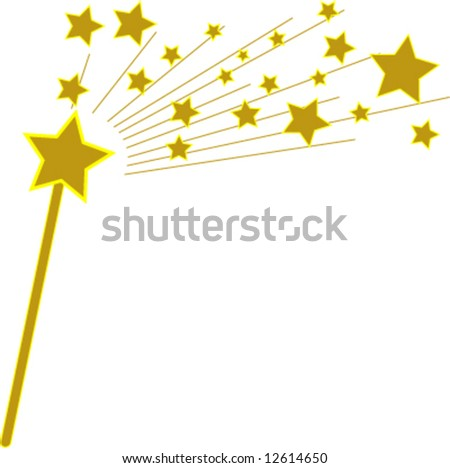 vector golden magic wand and