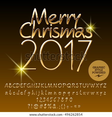 Vector golden Merry Christmas 2017 greeting card with set of letters, symbols and numbers. File contains graphic styles #496262854