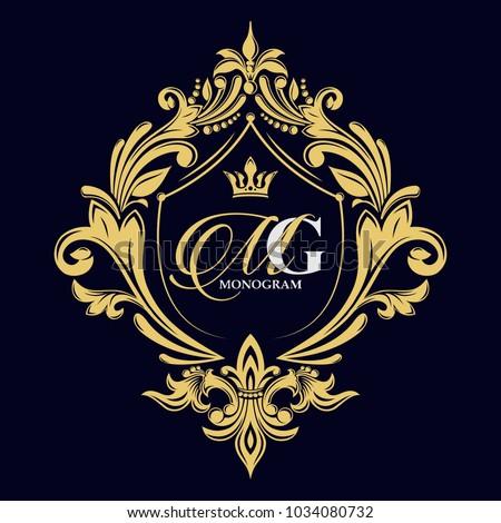 Vector golden monogram. Luxurious decorative frame. Wedding invitation. Elegant lines of calligraphic ornament. Dark background. Business sign, identity for hotel, restaurant, heraldic, boutique