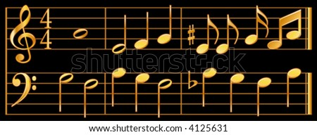 vector, GOLDEN MUSIC, whole, half, quarter, eighth notes, sharp, flat, music signatures, treble, bass clef, black background. EPS8 compatible; organized in layers for easy editing.