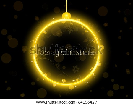 Vector - Golden Neon Christmas Ball on Black Background
