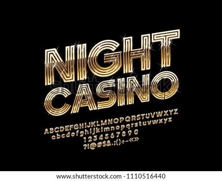 Vector Golden Night Casino label. Chic Font. Abstract pattern Alphabet Letter, Number and Symbol