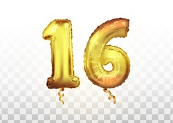 vector Golden number 16 sixteen metallic balloon. Party decoration golden balloons. Anniversary sign for happy holiday, celebration, birthday, carnival, new year