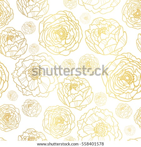 vector golden on white peony