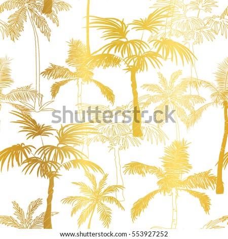 vector golden palm trees summer