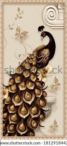 vector golden peacock with