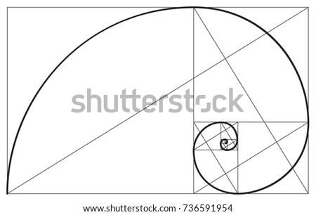 Vector golden ratio. Fibonacci ideal proportion sections, divinity and eternity spiral symbol