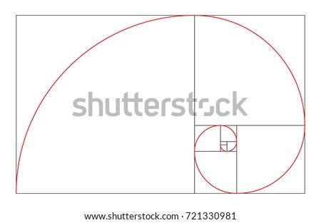 Vector Golden Ratio. Golden Mean. Golden Section. Divine proportions. Spiral shell.