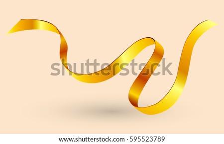 Vector golden ribbon.Gold ribbon tape