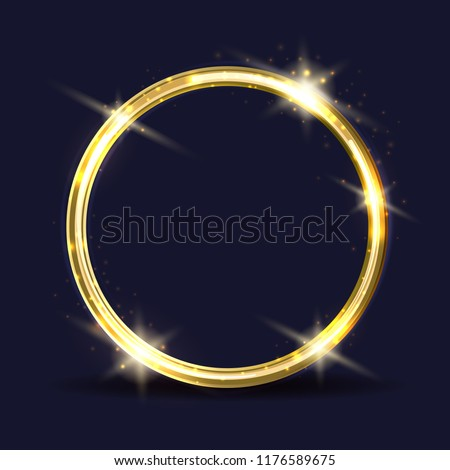 Vector golden ring. Light circle frame with sparks effects, vector illustration