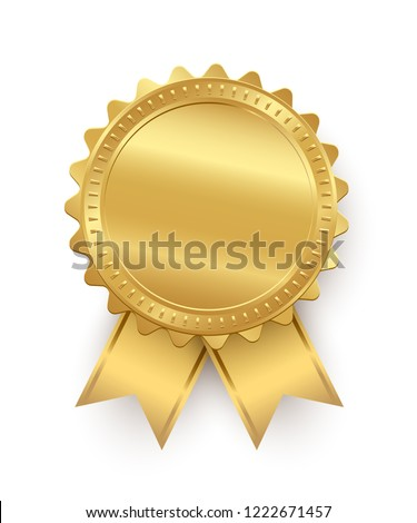 Vector golden seal with ribbons isolated on white background.