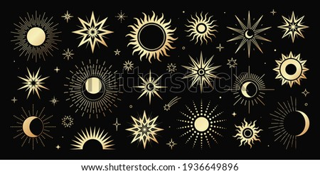 Vector golden set of mystical magic different sun and moon. Spiritual occultism objects, trendy style. Elements template for posters, prints, patterns, illustrations and logos.