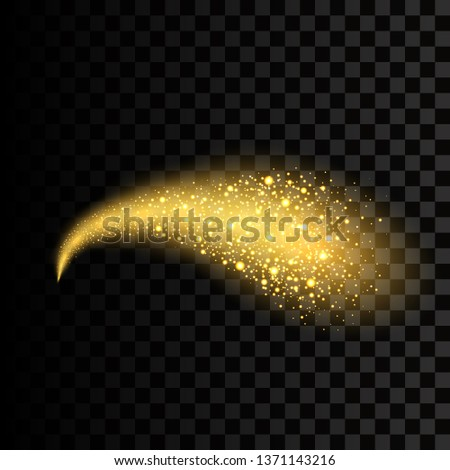 Vector golden sparkling falling star. Stardust trail. Cosmic glittering wave.