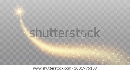 Vector golden sparkling falling star. Stardust trail. Cosmic glittering wave