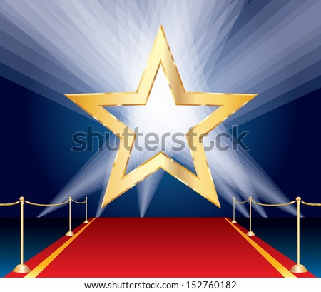 vector golden star over red