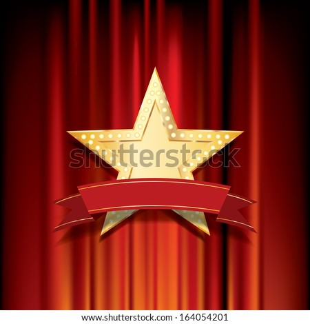 vector golden star with blank