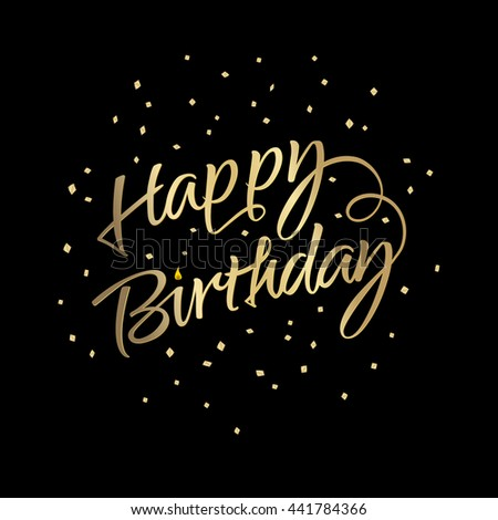 Vector golden text with confetti on black background happy birthday vector golden text with confetti on black background happy birthday for greeting card m4hsunfo