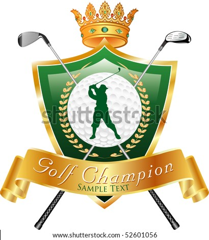 vector golf award with sample text in separate layer