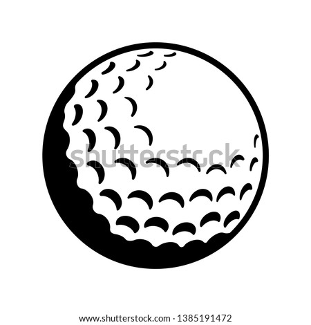 Vector Golf Ball - Black and White Isolated Icon