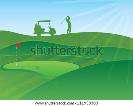 Vector Golf Course Hills Background with a Golfer and Cart in the Distance