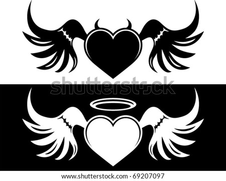 vector good and evil heart