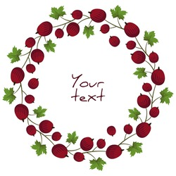Vector gooseberry wreath; red gooseberry frame for greeting cards, invitations, posters, banners.