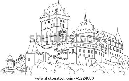 vector -  Gothic castle Karlstein (Carlstein) et Czech republic (Europe)