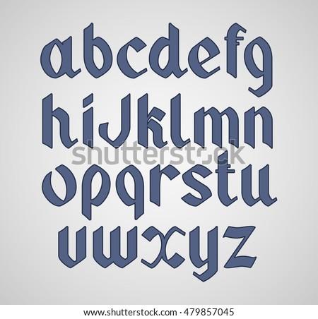 Vector gothic handwritten font. Vintage vector font.