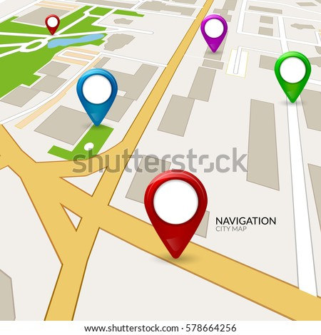 Vector gps map city. Street road navigation. GPS pin on map. Route direction illustration. City cartography #578664256