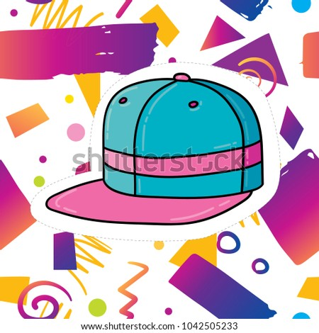 Vector gradient geometric hipster trendy elements pattern with bold bright purple violet colors card design template. 80s 90s retro fashion design with funny rap cap sticker