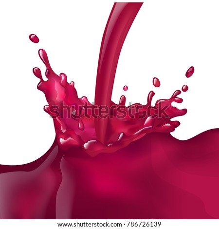 Vector gradient mesh red splash wine  juice pours juicy liquid cherry tasty realistic sweet red grape cherry pours splash realistic splash juice maroon stream flow  drink  juicy splash juicy  red wine