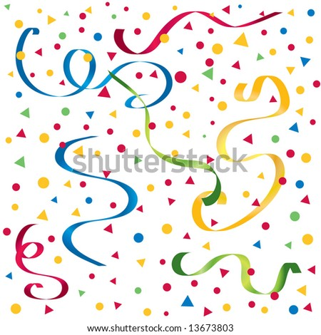 Vector gradient streamers with confetti in bright party colors