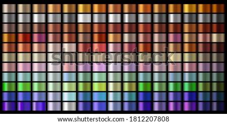 Vector Gradients collection. golden, silver, bronze, copper, violet, purple colors gradient set. Shiny, elegant colors for chrome border, logo, label design, frame, ribbon, award