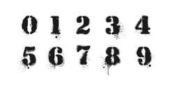 Vector graffiti numbers on white. Lettering sprayed with leak in black over white. Vector design street art.