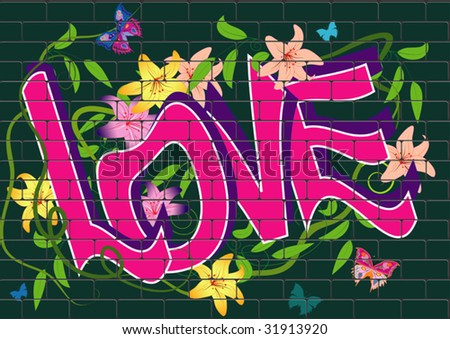 vector graffiti with flowers