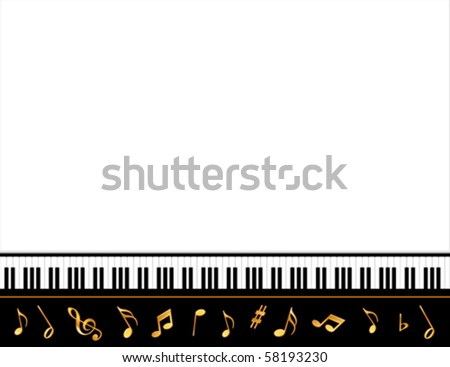 vector - Grand Piano Music Poster, Black keyboard frame, gold music notes, copy space for concerts, recitals, announcements, fliers & music events. EPS8 organized in groups for easy editing.